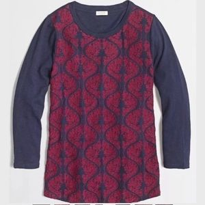 J.CREW Embroidered front Tee Blouse Shirt Blue red